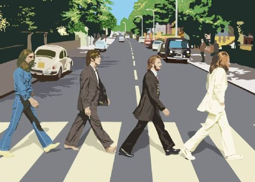THE BEATLES - ABBEY ROAD - Cut out style canvas print - self adhesive poster - photo print